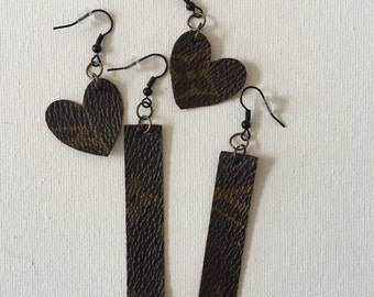 Handmade LV canvas earrings