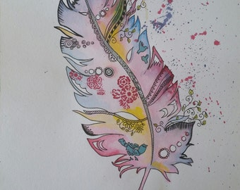 Watercolour painting. Feathers series #1