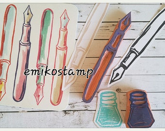 SALE Pen hand carved rubber stamp,calligraphy dip pen stamp,writing stationery,back to school,gift wrapping,card making,snailmail,crafts