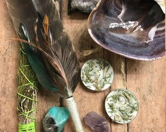 1 LEFT, 8 Piece Smudge kit with Gemstones,Sacred Sage,Smudge wand,Blessing Smudge, Handmade, Gemstones and Sage, Ceremonial Sage, Smudge kit