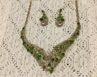 Green Crystal Rhinestone Bib Statement Necklace and Earring Set