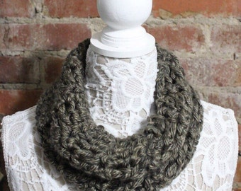 Chunky Cowl Neck Scarf - Distressed Brown