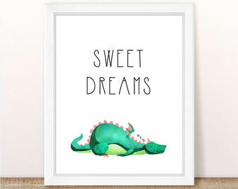 PRINTABLE Dragon Nursery Art Print, Sweet Dreams Dragon Nursery Print, Boy Girl Dragon Wall Art, Sleeping Dragon Printable, Wall Printable