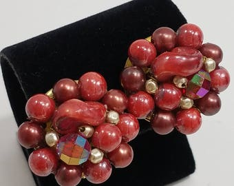 Gorgeous Beaded Clip Earrings from Hong Kong