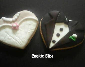 12 Bride & Groom Decorated Sugar Cookies Baked Handmade Cookie Wedding Cookie Wedding Favors Engagement Favor Wedding Cookie gift Tux Cookie