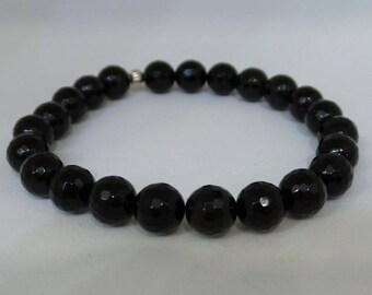 Beaded Bracelet/ Onyx Bracelet/ Faceted Black Onyx Bracelet/ Layering Bracelet/ Trendy Bracelet