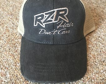 Rzr hair don't care Embroided mid-level trucker hat, Cap, Hat, trucker hat, Razor hat, Razor, ATV hat, Don't care, women hat, women's cap