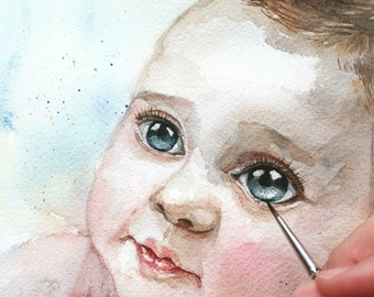 Custom baby Portrait , Custom Portrait  , Child portrait,Baby painting,original watercolor painting