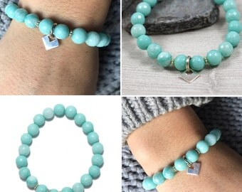 Bracelet with mint jade and sterling silver charm