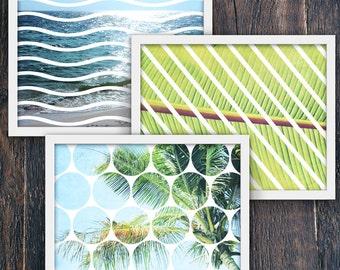 Set of Three Tropical Beach Art Prints, Geometric Modern Home Decor PRINTABLE, Large Horizontal Wall Art, Leaves, Waves, Trees (#16195c-8)