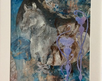 Horse Collage 10x12""