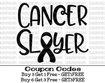 Cancer Slayer Svg Cancer Svg Cancer Survivor SVG PNG Files Cancer Ribbon Svg Files for Cricut Svg Files for Silhouette Breast Cancer Svg
