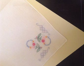 Vintage Handkerchief / Flowers and Knots