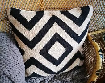 Cushion pillow jute diamond geometric 50 x 50