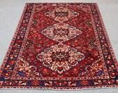 Red Jam rug,  Shiraz Rug, Handwoven rug, Wool Rug, Navy blue Rug ,  Vintage Rug, Hand Loomed Rug, oriental rug size: 6.6′ X 9.5′