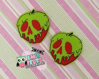 Set of 4 Poison Apple Feltie, Felt Appliques, Felt Embelishment