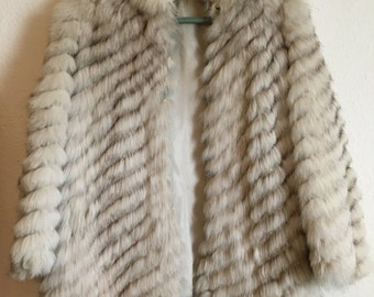 Vintage Fox Fur Grey White Silver Fur Coat Jacket
