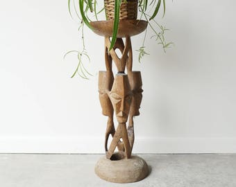 Hand-Carved Side Table/Stool/Plant Stand