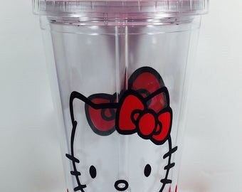 Hello Kitty Tumbler with straw, custom cup, personalized gift, birthday gift,  Hello Kitty party favor, thank you gift, Hello Kitty