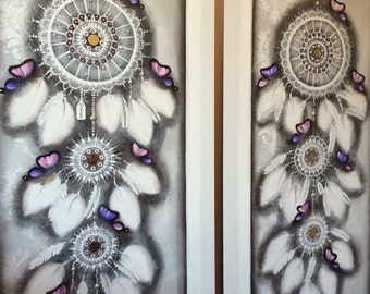 Purple and pink butterfly  DREAM CATCHER