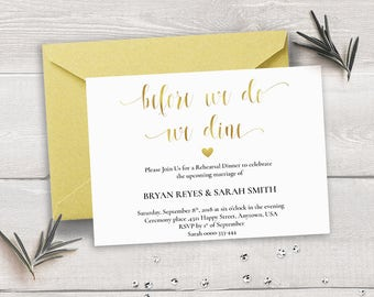 Gold Rehearsal Dinner Template, Gold Rehearsal Dinner Printable, Gold Rehearsal Dinner Card Wedding Printable, Modern Calligraphy Gold DIY