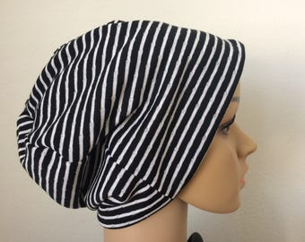 Black and White Stretch Knit Slouchy Beanie/Reversible