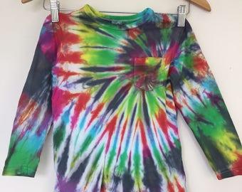 Tie dyed rainbow spiral kids long sleeve Tee