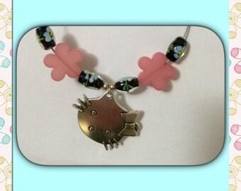 Necklace Ello Kiti pearls flowers pink.