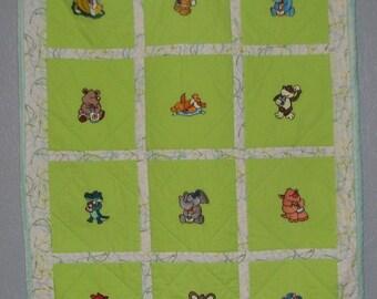 Green Baby Animals Baby Blanket