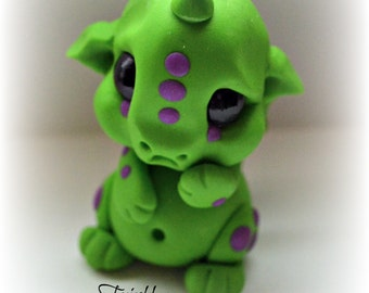 "Frinkle Dragon polymer clay one of a kind sculpt green ""Gribbles"""