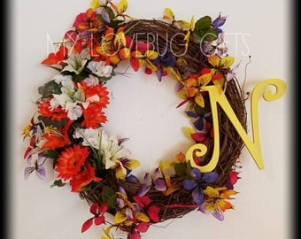 Wreath with Flowers and Butterflies and Initial
