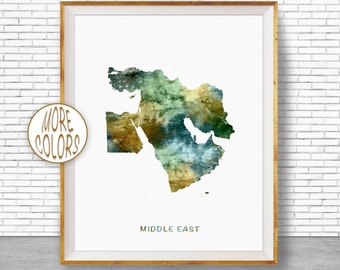 Middle East Print, Middle East Map, Middle East Art, Map Wall Art Print, Travel Map, Travel Decor, Office Decor, Office Wall Art