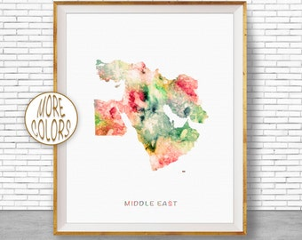 Middle East Map, Middle East Art, Middle East Print, Map Wall Art Print, Travel Map, Travel Decor, Office Decor, Office Wall Art