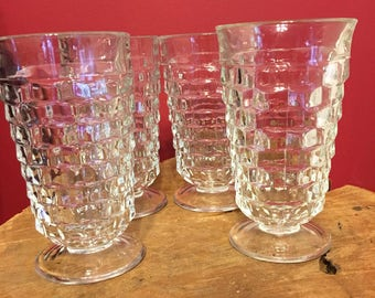 Vintage Indiana glass co clear cut glass footed glasses set of 4