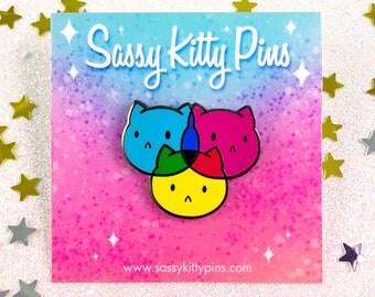 CMYKitties hard enamel pin lapel cmyk rgb designer cute cat enamel pin