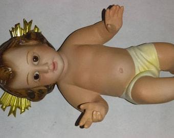 Antique Spanish Glass Eyes Plaster  Baby Jesus
