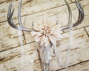 Lace and Flower Headpiece Deer Skull