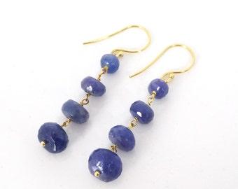 Tanzanite earrings, Long gemstone earrings, 14K yellow gold earrings, Long diamond earrings, Gemstone dangle earrings, Beaded earrings, 18K