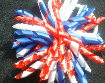 America pom pom Corker Hair Bow Red White andBlue korker ready to ship USA