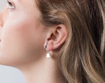star ear crawler, dainty ear cuff, minimalist ear band, wife statement jewelry, silver ear band, ear cuff, wife gift christmas, ear crawler