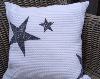 Set of 2 pillows, handmade and handgeprint upcycle design