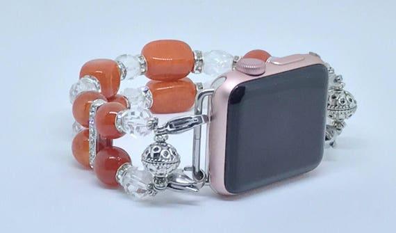 """Apple Watch Band, Women Bead Bracelet Watch Band, iWatch Strap, Apple Watch 38mm, Apple Watch 42mm, Brilliant Orange, Crystal 7 3/4"""" - 8"""""""
