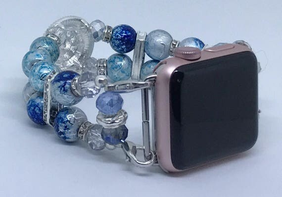 "Apple Watch Band, Women Bead Bracelet Watch Band, iWatch Strap, Apple Watch 38mm, Apple Watch 42mm, Ocean Blue, Clear Size 7 1/2"" - 7 3/4"""