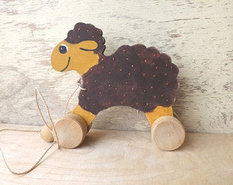 Wood pull and push toy Sheep in brown, handmade hand-painted pull along animal on wheels, personalized wooden sheep toy for toddlers kids