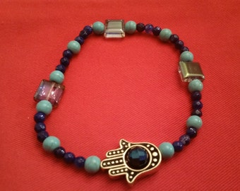 Turquoise and blue Agate stone bead bracelet