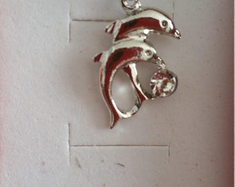 Pair of Dolphins and Rhinestone necklace