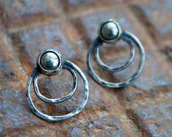 Pyrite Round Stone Oxidized Sterling Silver Hammered Wire Geometric Orbit Studs