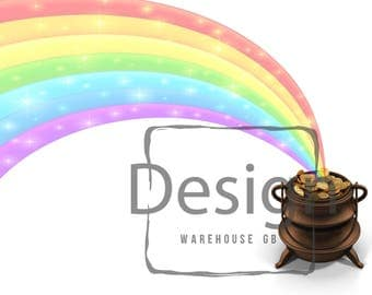St Patrick's Day Rainbow Pot of Gold Digital Cut Out PNG file