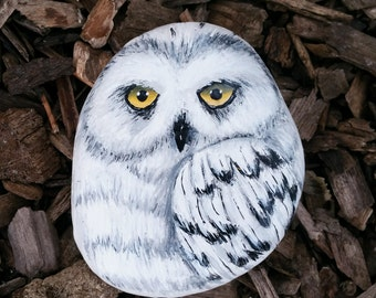 White Owl Hand Painted Acrylic on Natural River Rock
