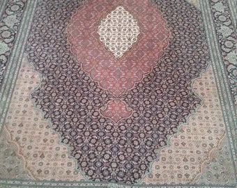 Old persian carpet tabriz 10.5 × 6.7 ft 306 × 200 cm, fine, beautiful